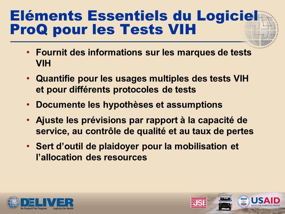 Eléments Essentiels du Logiciel ProQ pour les Tests VIH Fournit des informations sur les marques de tests VIH Quantifie pour les usages multiples des