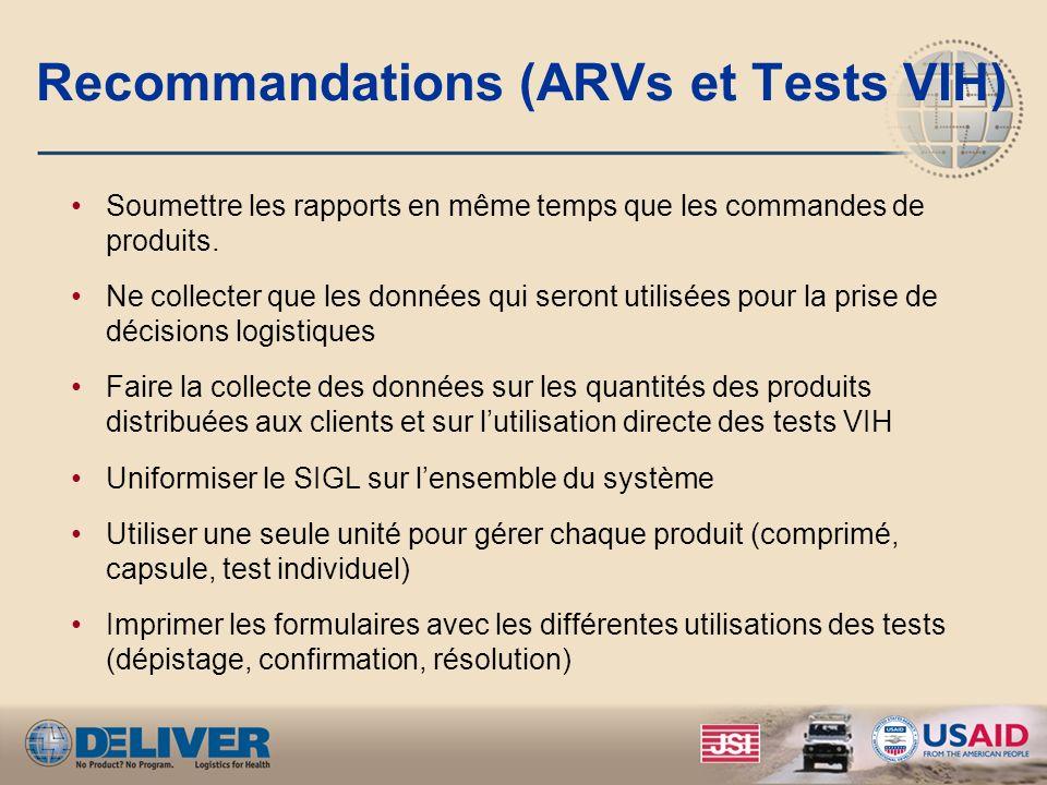Recommandations (ARVs et Tests VIH) Soumettre les rapports en même temps que les commandes de produits. Ne collecter que les données qui seront utilis