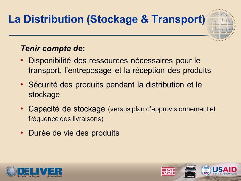 La Distribution (Stockage & Transport) Tenir compte de: Disponibilité des ressources nécessaires pour le transport, lentreposage et la réception des p