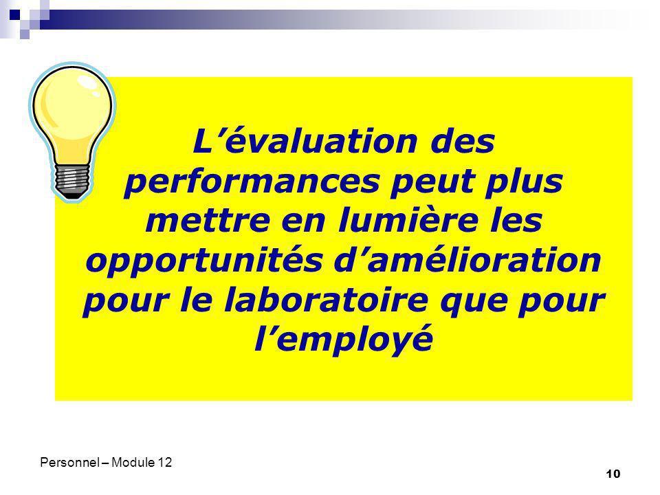 Personnel – Module 12 10 Lévaluation des performances peut plus mettre en lumière les opportunités damélioration pour le laboratoire que pour lemployé