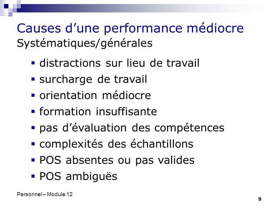 Personnel – Module 12 9 Systématiques/générales distractions sur lieu de travail surcharge de travail orientation médiocre formation insuffisante pas