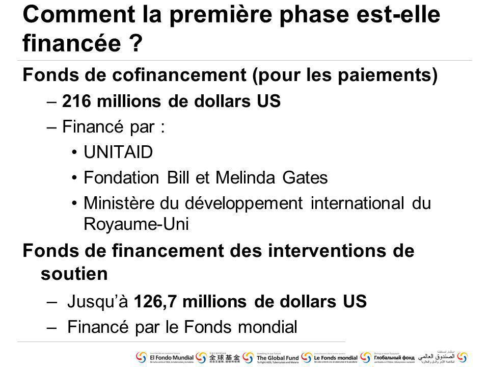 Fonds de cofinancement (pour les paiements) –216 millions de dollars US –Financé par : UNITAID Fondation Bill et Melinda Gates Ministère du développement international du Royaume-Uni Fonds de financement des interventions de soutien – Jusquà 126,7 millions de dollars US – Financé par le Fonds mondial Comment la première phase est-elle financée ?
