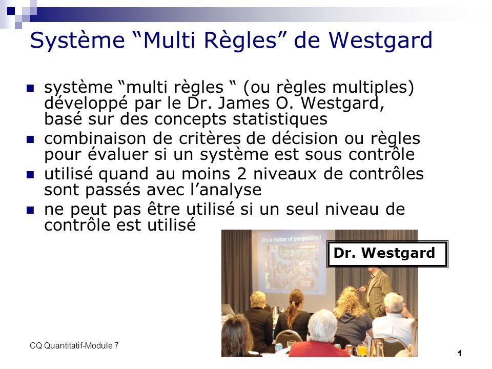 CQ Quantitatif-Module 7 1 Système Multi Règles de Westgard système multi règles (ou règles multiples) développé par le Dr. James O. Westgard, basé sur