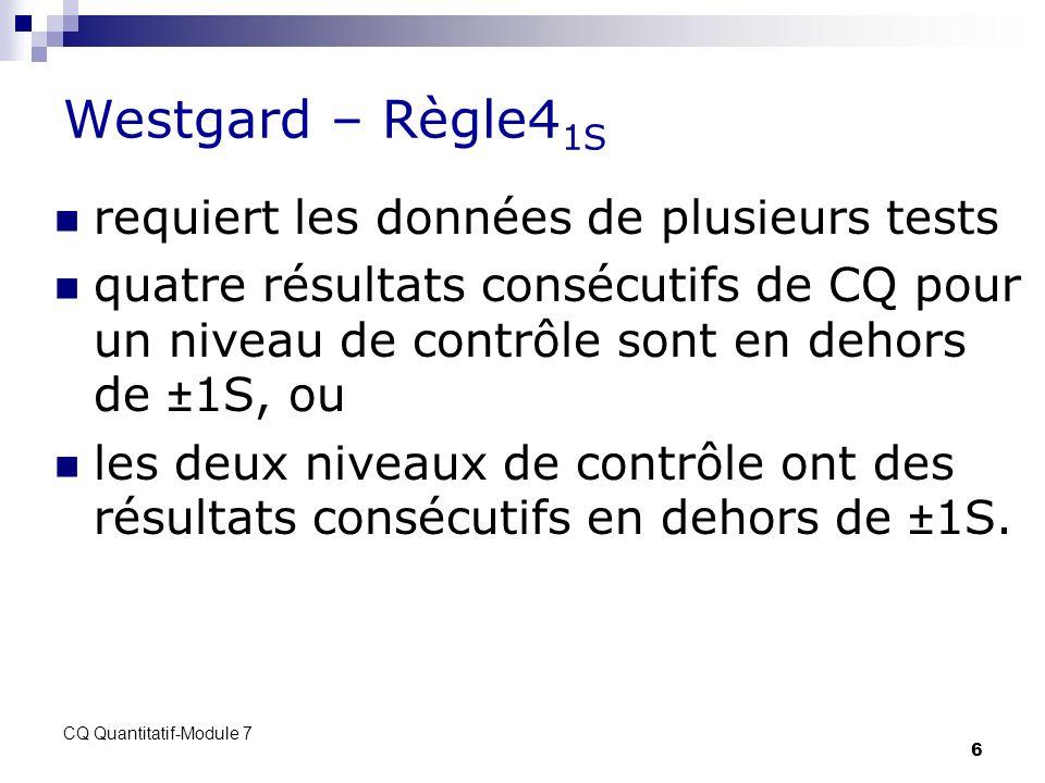 CQ Quantitatif-Module 7 6 Westgard – Règle4 1S requiert les données de plusieurs tests quatre résultats consécutifs de CQ pour un niveau de contrôle s