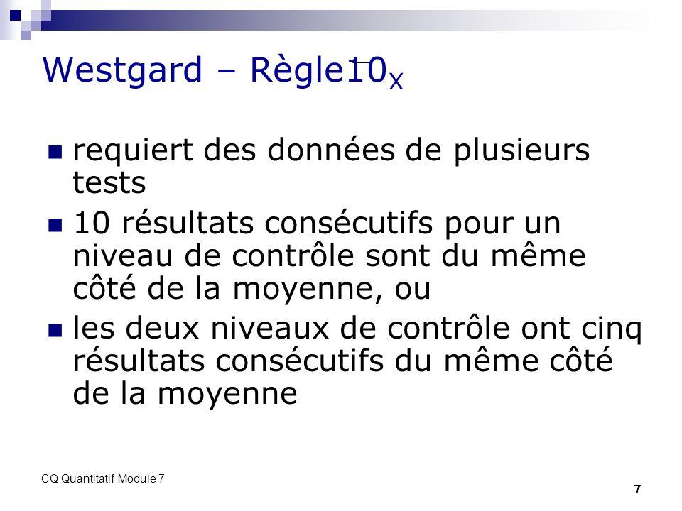 CQ Quantitatif-Module 7 7 Westgard – Règle10 X requiert des données de plusieurs tests 10 résultats consécutifs pour un niveau de contrôle sont du mêm