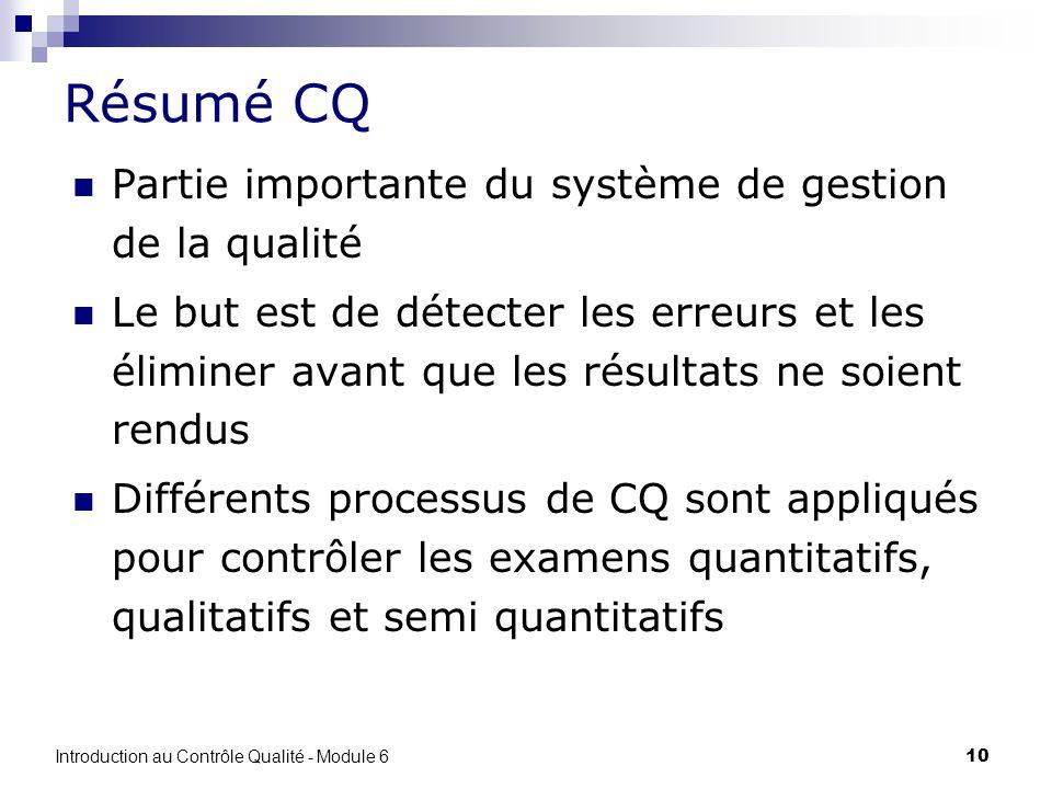 10 Résumé CQ Partie importante du système de gestion de la qualité Le but est de détecter les erreurs et les éliminer avant que les résultats ne soien