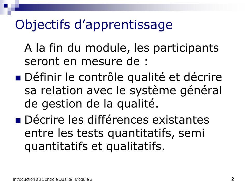 Introduction au Contrôle Qualité - Module 6 2 Objectifs dapprentissage A la fin du module, les participants seront en mesure de : Définir le contrôle