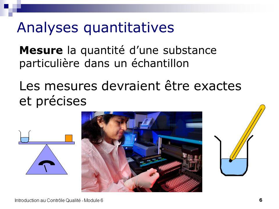 6 Analyses quantitatives Mesure la quantité dune substance particulière dans un échantillon Les mesures devraient être exactes et précises Introductio
