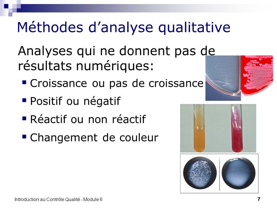 7 Méthodes danalyse qualitative Analyses qui ne donnent pas de résultats numériques: Croissance ou pas de croissance Positif ou négatif Réactif ou non