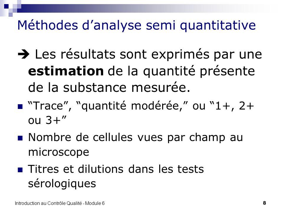 8 Méthodes danalyse semi quantitative Les résultats sont exprimés par une estimation de la quantité présente de la substance mesurée. Trace, quantité