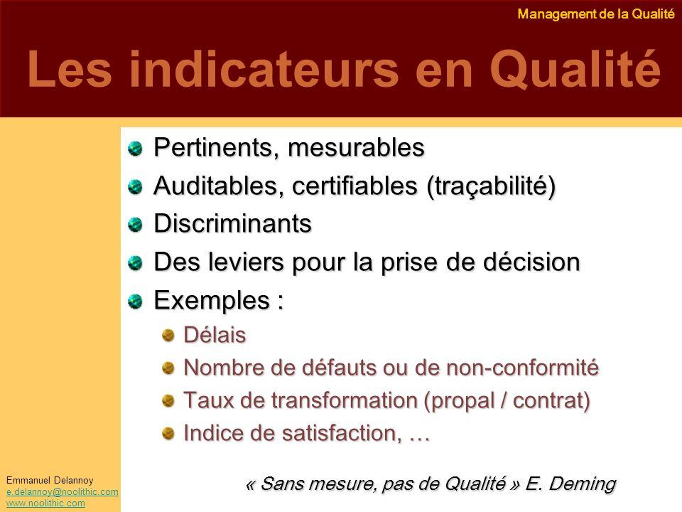 Management de la Qualité Emmanuel Delannoy e.delannoy@noolithic.com www.noolithic.com Les indicateurs en Qualité Pertinents, mesurables Auditables, ce