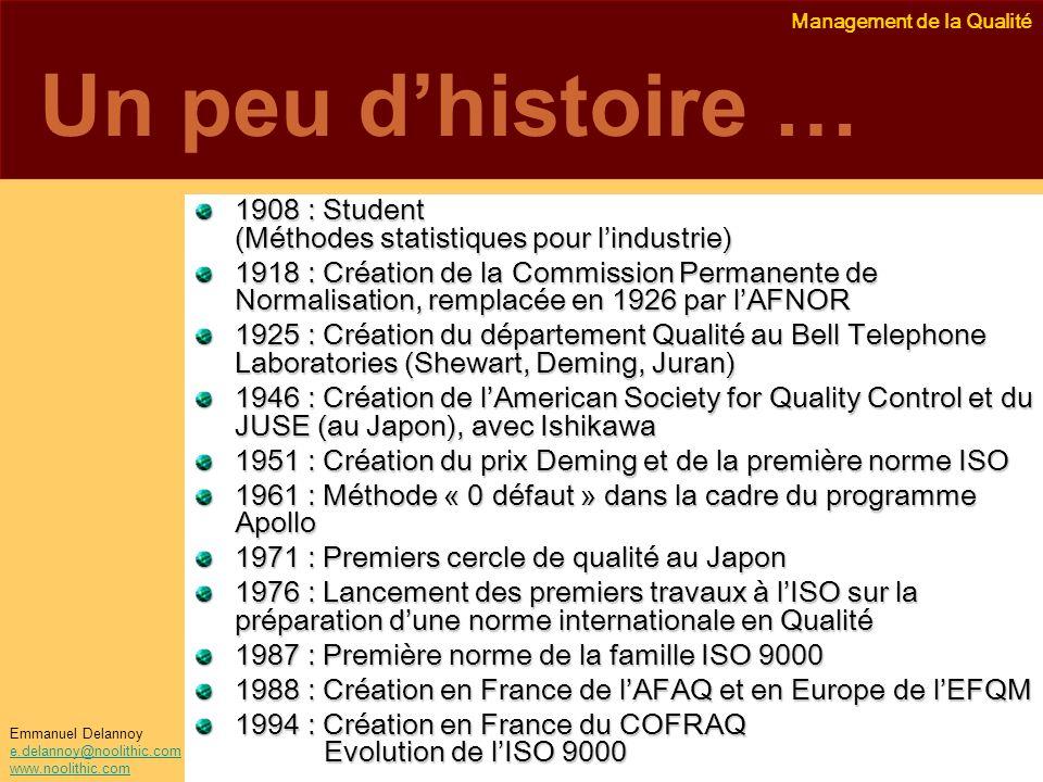 Management de la Qualité Emmanuel Delannoy e.delannoy@noolithic.com www.noolithic.com Un peu dhistoire … 1908 : Student (Méthodes statistiques pour li