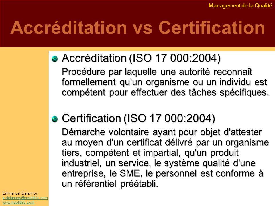 Management de la Qualité Emmanuel Delannoy e.delannoy@noolithic.com www.noolithic.com Accréditation vs Certification Accréditation (ISO 17 000:2004) P