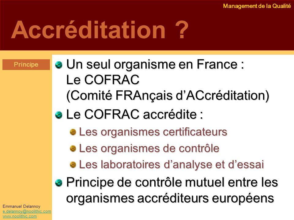 Management de la Qualité Emmanuel Delannoy e.delannoy@noolithic.com www.noolithic.com Accréditation ? Un seul organisme en France : Le COFRAC (Comité