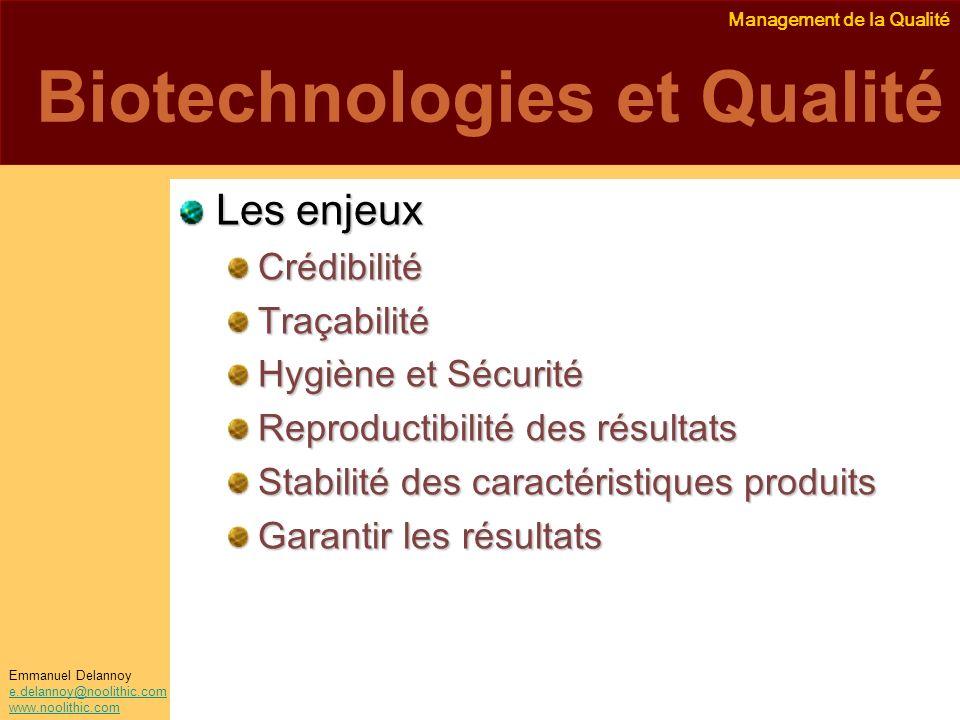 Management de la Qualité Emmanuel Delannoy e.delannoy@noolithic.com www.noolithic.com Biotechnologies et Qualité Les enjeux CrédibilitéTraçabilité Hyg