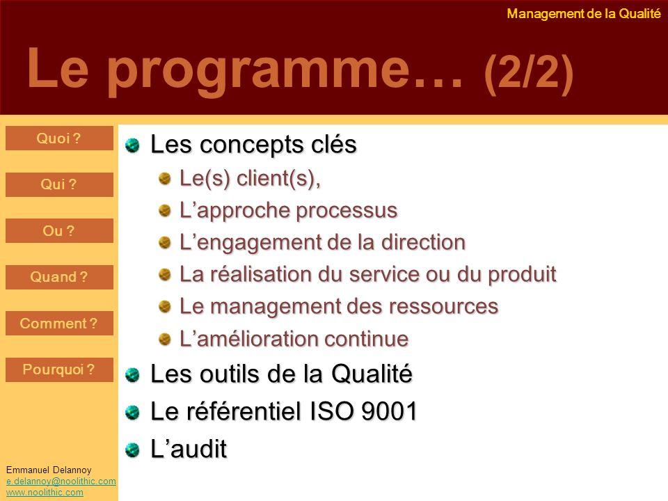 Management de la Qualité Emmanuel Delannoy e.delannoy@noolithic.com www.noolithic.com Le programme… (2/2) Les concepts clés Le(s) client(s), Lapproche