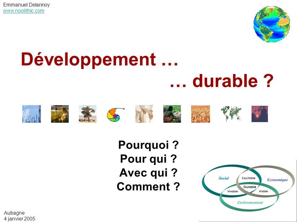 Emmanuel Delannoy www.noolithic.com Le développement durable : environnement & développement daprès Aurélien Boutaud, ENSMSE, RAE développement durable IDH, niveau moyen Environnement dégradé Economie développée Environnement dégradé Economie sous-développée Environnement protégé Economie sous-développée 012345678910 Empreinte écologique (ha/hab) Besoins des générations futures 0 0,1 0,2 0,3 0,4 0,5 0,6 0,7 0,8 0,9 1 11 Indicateur de développement humain –IDH) Besoins des générations actuelles Niveau de durabilité écologique
