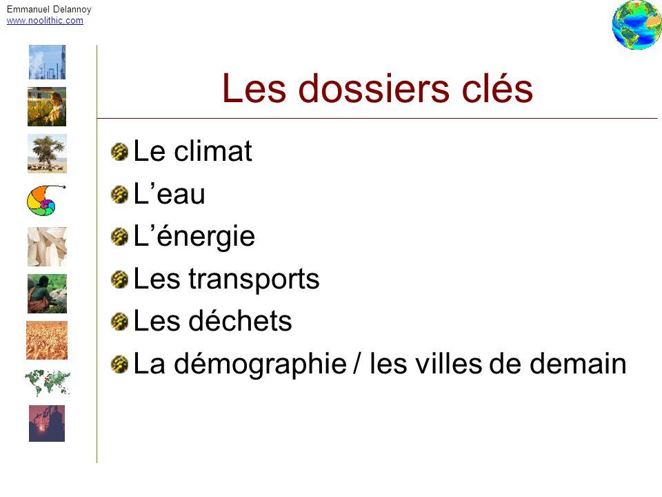 Emmanuel Delannoy www.noolithic.com Les dossiers clés Le climat Leau Lénergie Les transports Les déchets La démographie / les villes de demain
