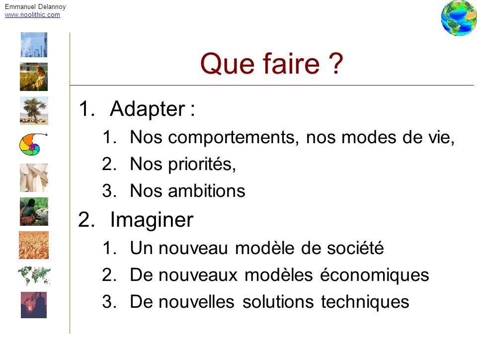 Emmanuel Delannoy www.noolithic.com Que faire ? 1.Adapter : 1.Nos comportements, nos modes de vie, 2.Nos priorités, 3.Nos ambitions 2.Imaginer 1.Un no