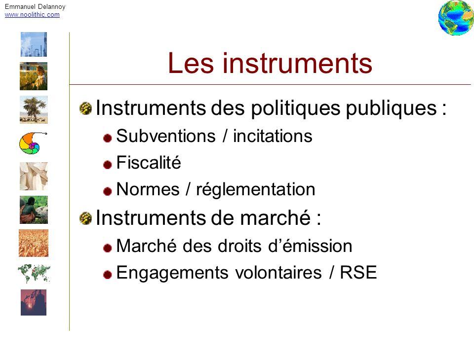 Emmanuel Delannoy www.noolithic.com Les instruments Instruments des politiques publiques : Subventions / incitations Fiscalité Normes / réglementation