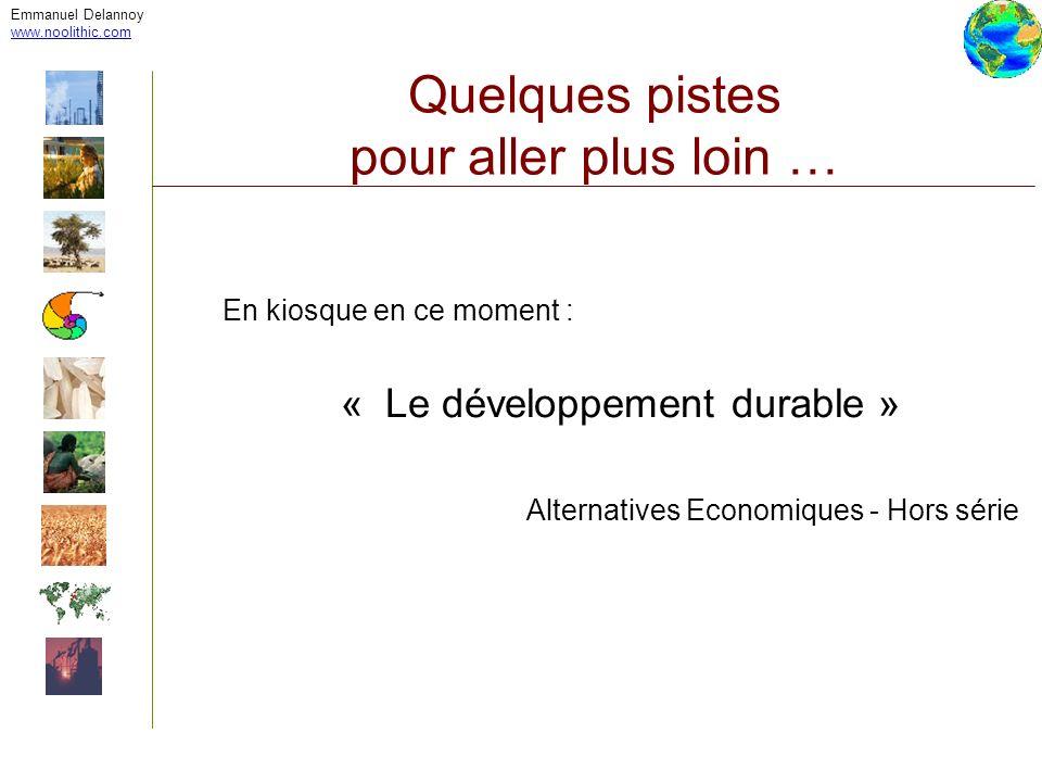 Emmanuel Delannoy www.noolithic.com Quelques pistes pour aller plus loin … En kiosque en ce moment : « Le développement durable » Alternatives Economi