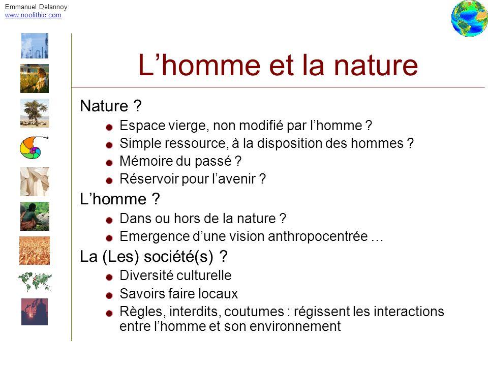 Emmanuel Delannoy www.noolithic.com Lhomme et la nature Nature ? Espace vierge, non modifié par lhomme ? Simple ressource, à la disposition des hommes
