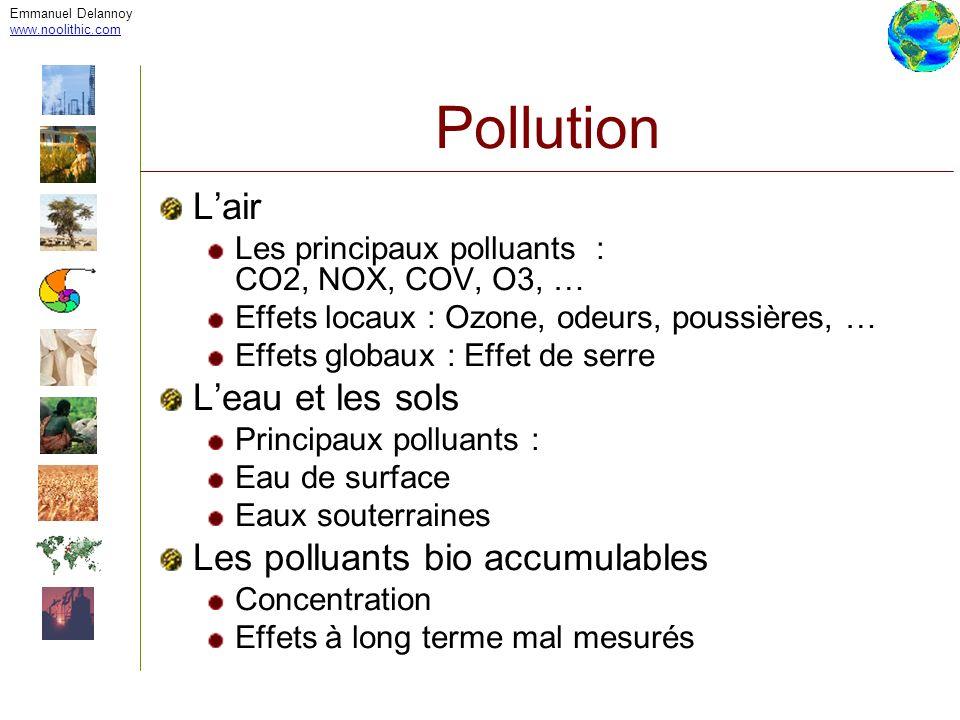 Emmanuel Delannoy www.noolithic.com Pollution Lair Les principaux polluants : CO2, NOX, COV, O3, … Effets locaux : Ozone, odeurs, poussières, … Effets