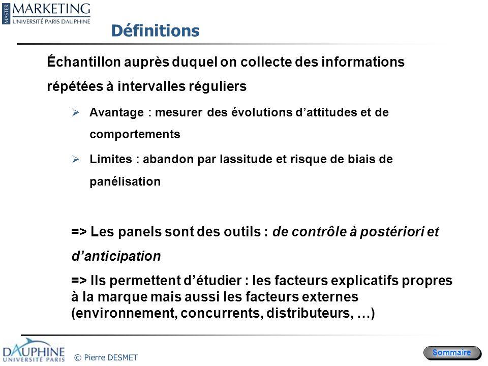Sommaire © Pierre DESMET Définitions Échantillon auprès duquel on collecte des informations répétées à intervalles réguliers Avantage : mesurer des év