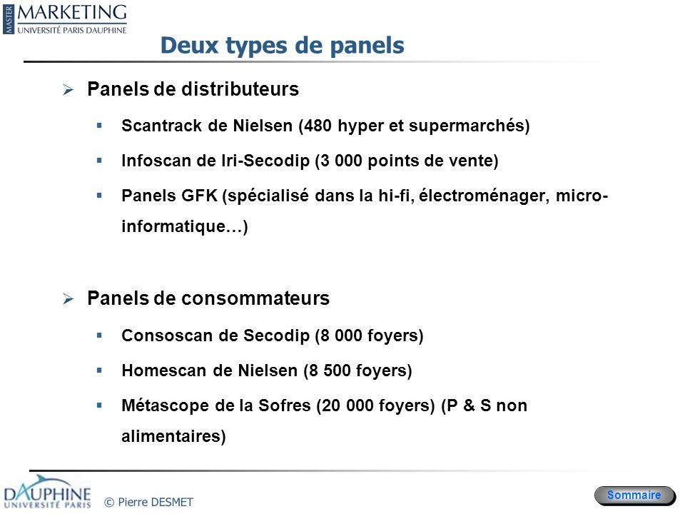 Sommaire © Pierre DESMET Deux types de panels Panels de distributeurs Scantrack de Nielsen (480 hyper et supermarchés) Infoscan de Iri-Secodip (3 000