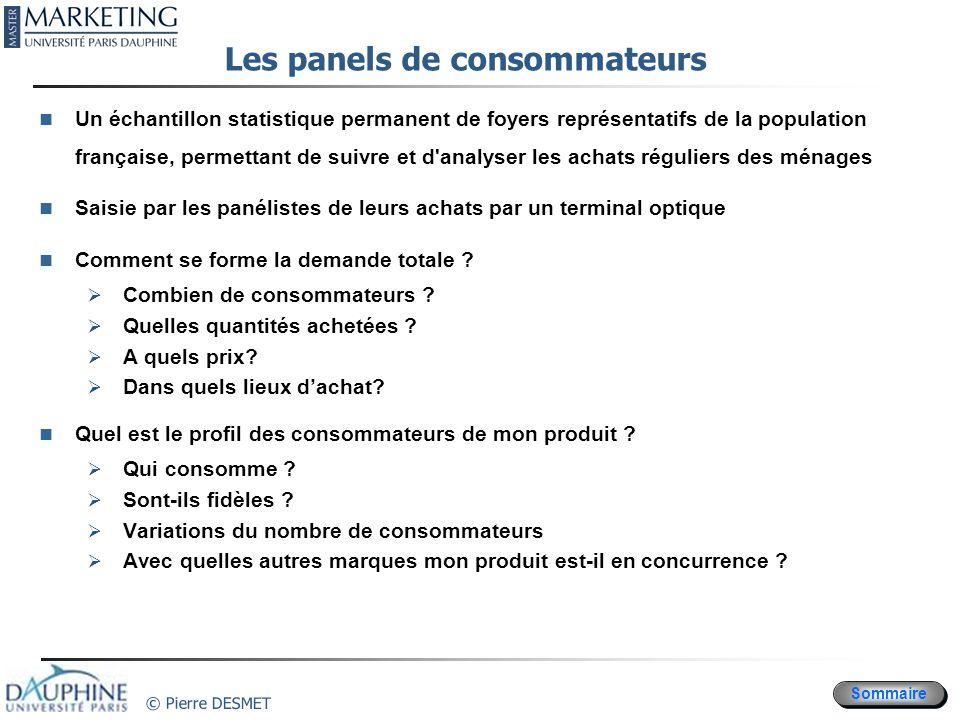 Sommaire © Pierre DESMET Les panels de consommateurs Un échantillon statistique permanent de foyers représentatifs de la population française, permett