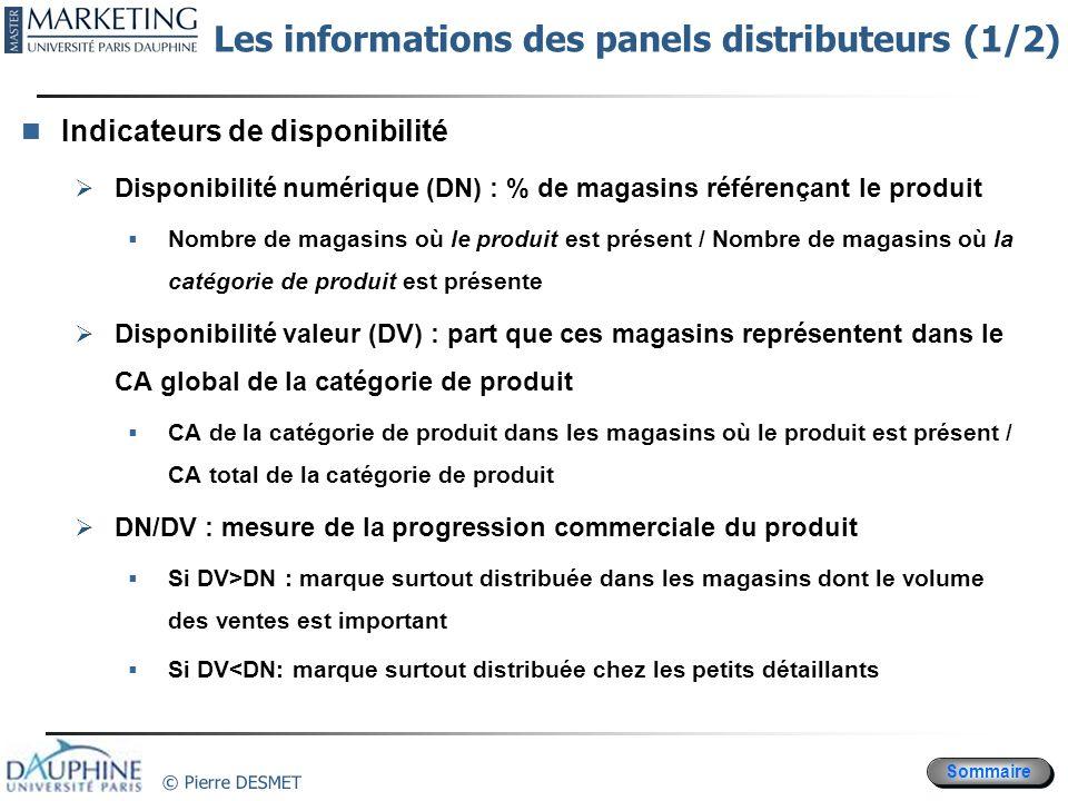 Sommaire © Pierre DESMET Les informations des panels distributeurs (1/2) Indicateurs de disponibilité Disponibilité numérique (DN) : % de magasins réf