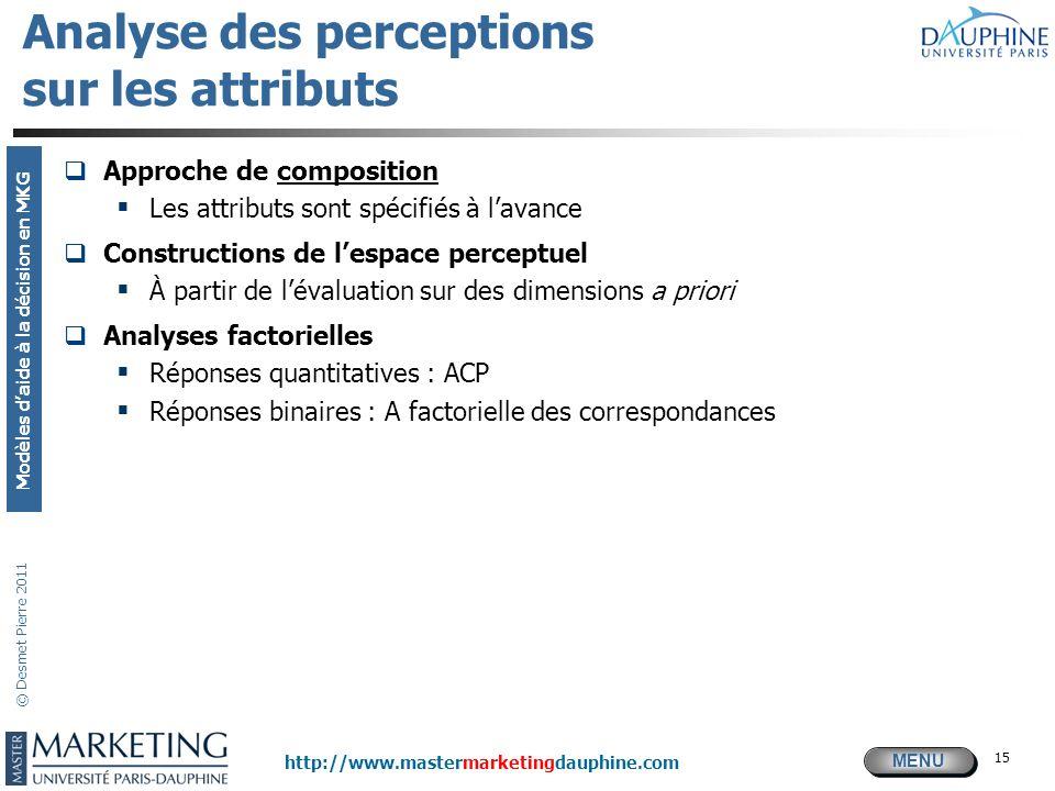 MENU Modèles daide à la décision en MKG http://www.mastermarketingdauphine.com © Desmet Pierre 2011 15 Analyse des perceptions sur les attributs Appro
