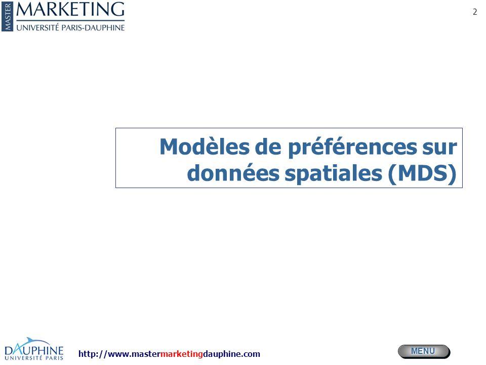 MENU Modèles daide à la décision en MKG http://www.mastermarketingdauphine.com © Desmet Pierre 2011 13 Plan Prod x Attributs (ideal)
