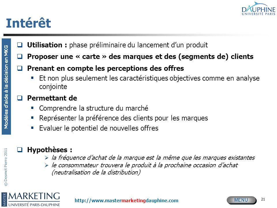 MENU Modèles daide à la décision en MKG http://www.mastermarketingdauphine.com © Desmet Pierre 2011 Intérêt Utilisation : phase préliminaire du lancem