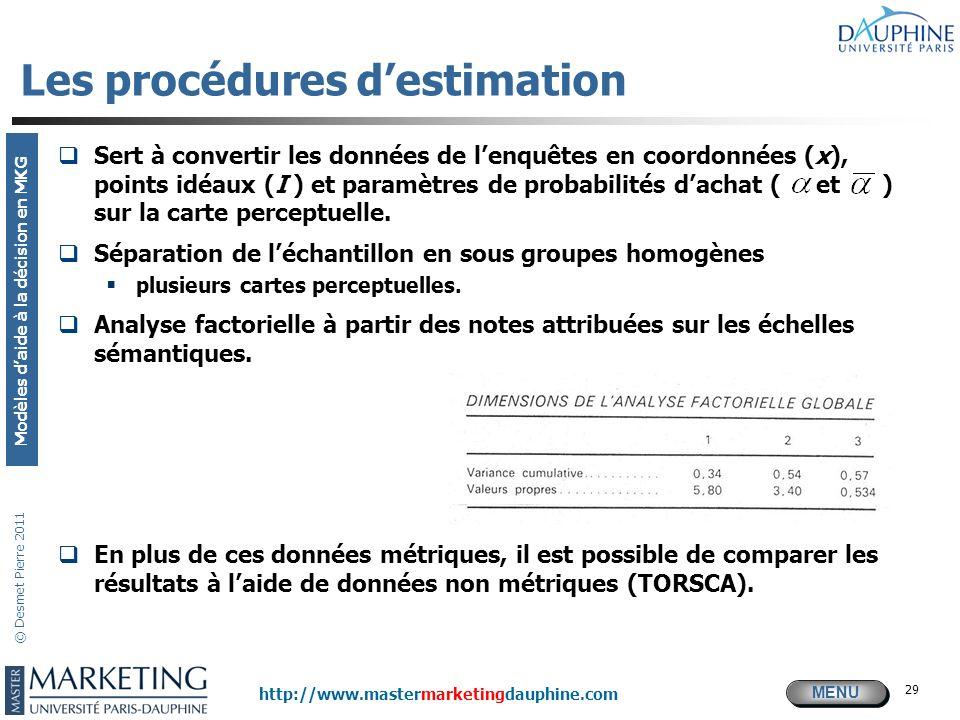 MENU Modèles daide à la décision en MKG http://www.mastermarketingdauphine.com © Desmet Pierre 2011 29 Les procédures destimation Sert à convertir les