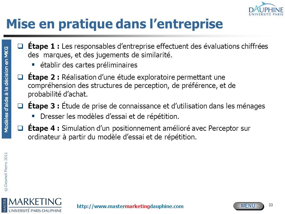 MENU Modèles daide à la décision en MKG http://www.mastermarketingdauphine.com © Desmet Pierre 2011 33 Mise en pratique dans lentreprise Étape 1 : Les