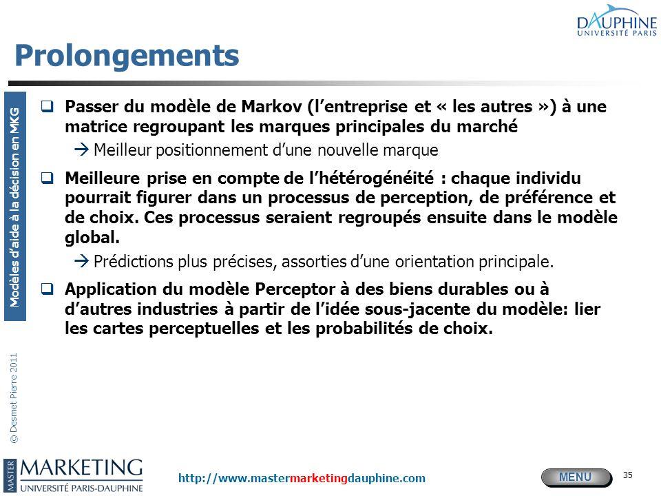 MENU Modèles daide à la décision en MKG http://www.mastermarketingdauphine.com © Desmet Pierre 2011 35 Prolongements Passer du modèle de Markov (lentr