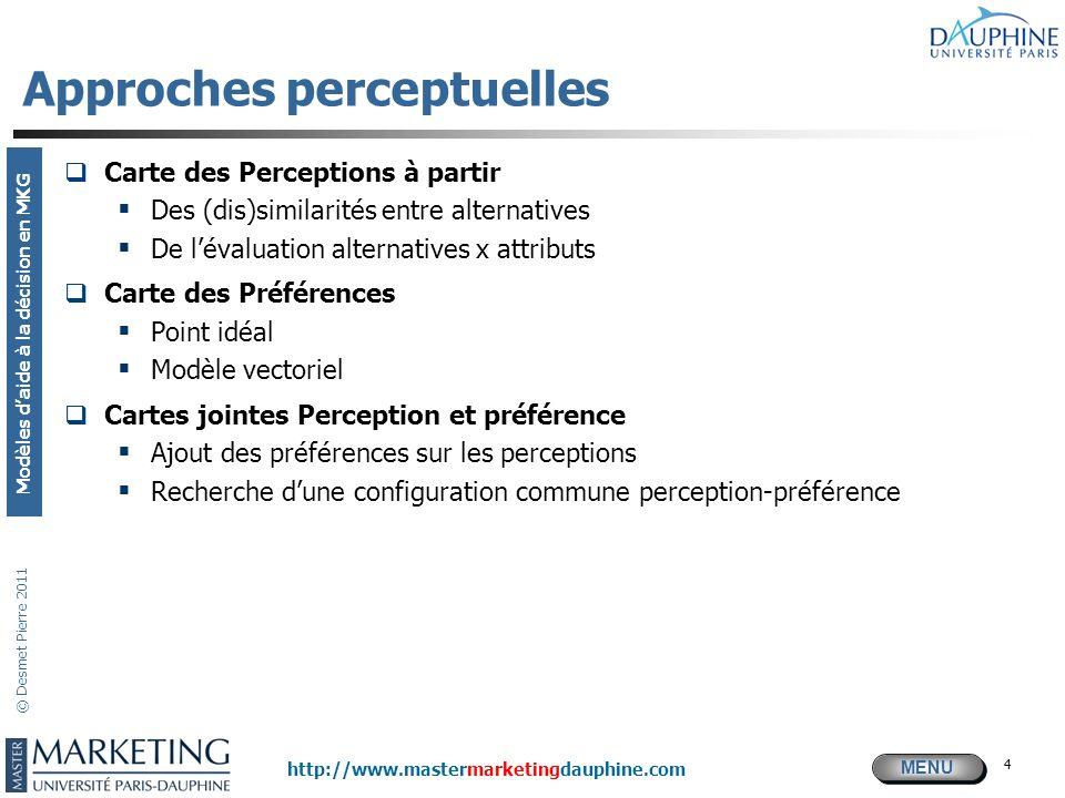MENU Modèles daide à la décision en MKG http://www.mastermarketingdauphine.com © Desmet Pierre 2011 4 Approches perceptuelles Carte des Perceptions à