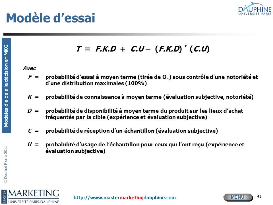MENU Modèles daide à la décision en MKG http://www.mastermarketingdauphine.com © Desmet Pierre 2011 41 Modèle dessai T = F.K.D + C.U – (F.K.D) ´ (C.U)