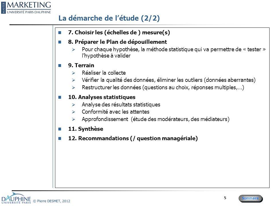 Sommaire © Pierre DESMET, 2012 16 Préparer un Plan de dépouillement : Choisir le test adapté à la nature des variables Les femmes ont CA plus élevé que celui des hommes CA(F) > CA(H) 1 variable nominale influence une variable quantitative Test de comparaison de moyennes Hypothèse du test : Normalité et égalité des variances V(F)=V(F) Test de Levene Plus la pression promotionnelle est forte, plus le CA est élevé CA(P1) < CA(P2) < CA(P3) 1 variable ordinale influence une variable quantitative Analyse de variance + test 2 à 2 Hypothèse du test : Normalité et égalité des variances V(F)=V(F) Test de Levene Plus le CA en t0 est élevé, plus le CA en t1 est élevé Association de 2 variables quantitatives : Corrélation linéaire Plus le CA en t1 est élevé, plus la probabilité dinactivité en t2 est faible Variable binaire expliquée par une variable quantitative : régression logistique Pour les femmes, leffet positif de la promotion sur le CA est plus important que pour les hommes Effet modérateur du genre sur leffet de la promotion CA = a0 + a1.F + a2.Promo + a3.