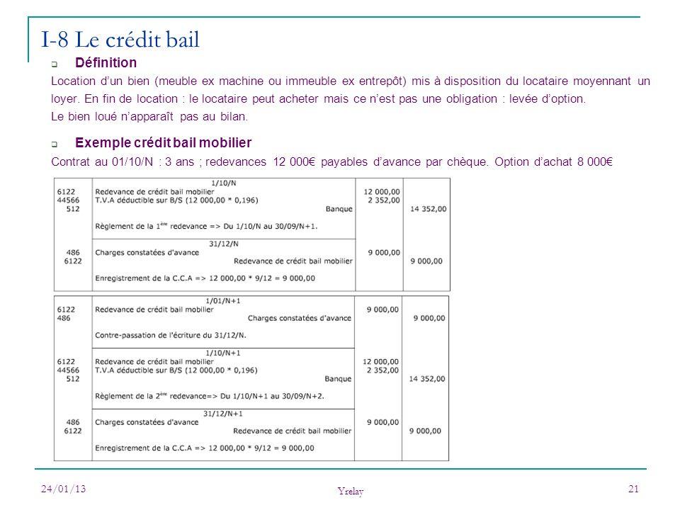 24/01/13 Yrelay 21 I-8 Le crédit bail Définition Location dun bien (meuble ex machine ou immeuble ex entrepôt) mis à disposition du locataire moyennan
