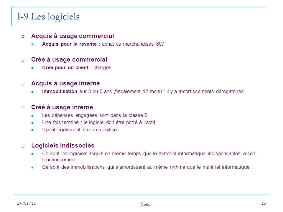 24/01/13 Yrelay 23 I-9 Les logiciels Acquis à usage commercial Acquis pour la revente : achat de marchandises 607 Créé à usage commercial Créé pour un