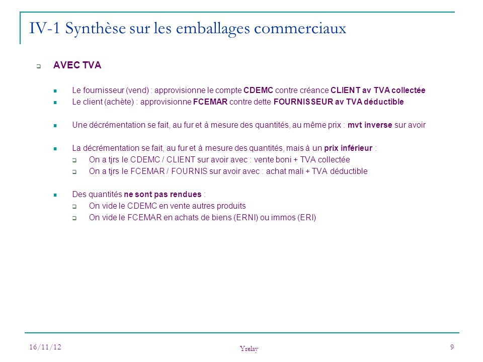 16/11/12 Yrelay 9 AVEC TVA Le fournisseur (vend) : approvisionne le compte CDEMC contre créance CLIENT av TVA collectée Le client (achète) : approvisi