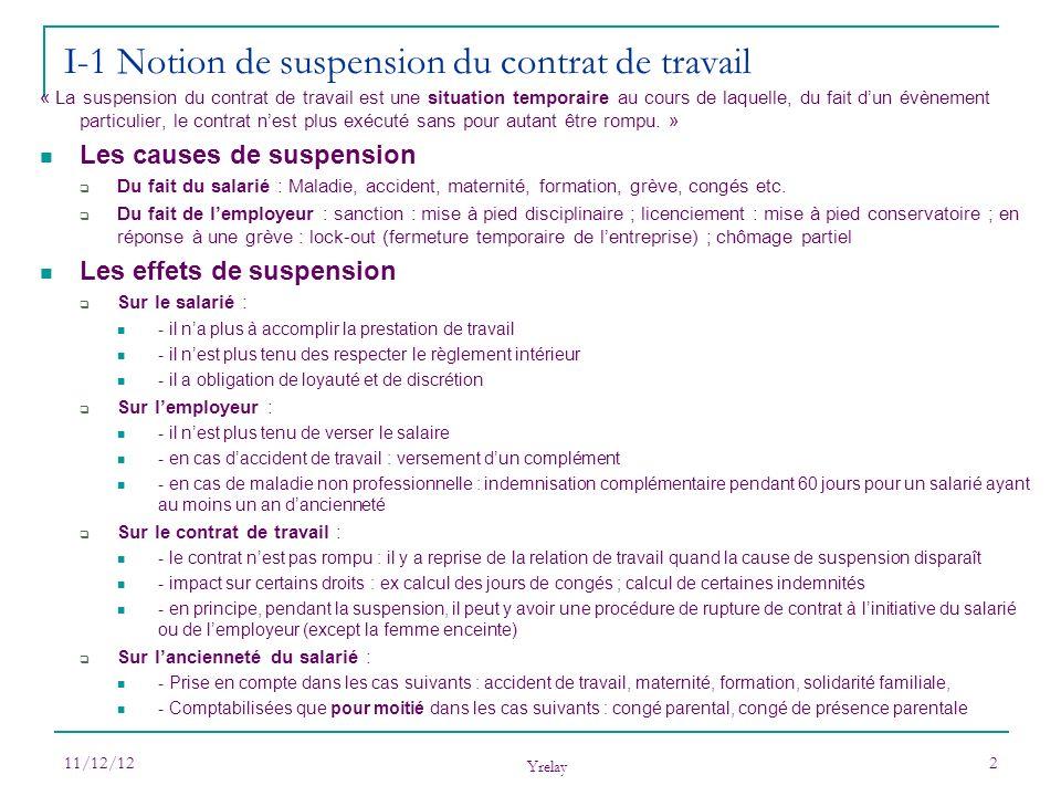 11/12/12 Yrelay 2 « La suspension du contrat de travail est une situation temporaire au cours de laquelle, du fait dun évènement particulier, le contr