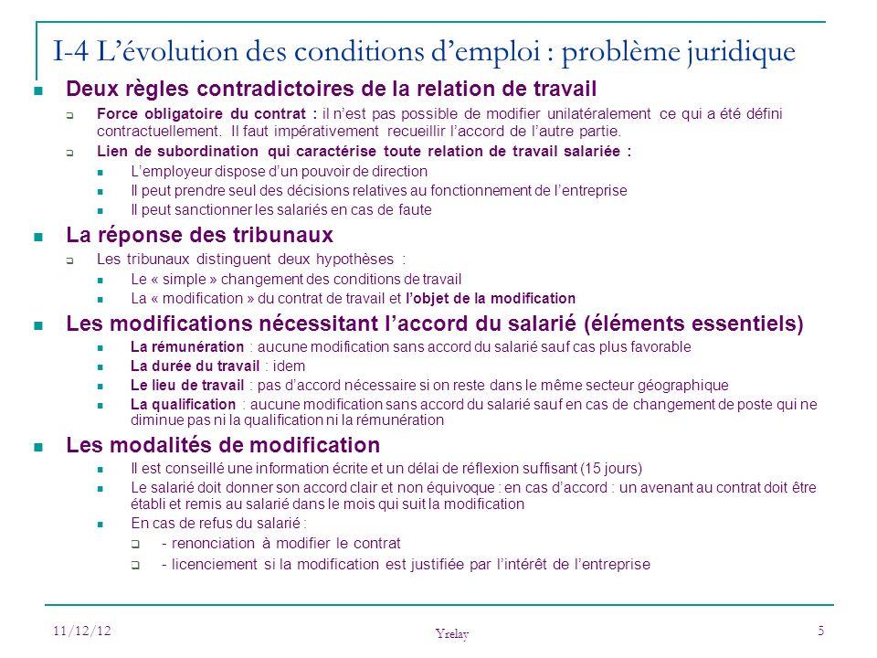 11/12/12 Yrelay 5 Deux règles contradictoires de la relation de travail Force obligatoire du contrat : il nest pas possible de modifier unilatéralemen
