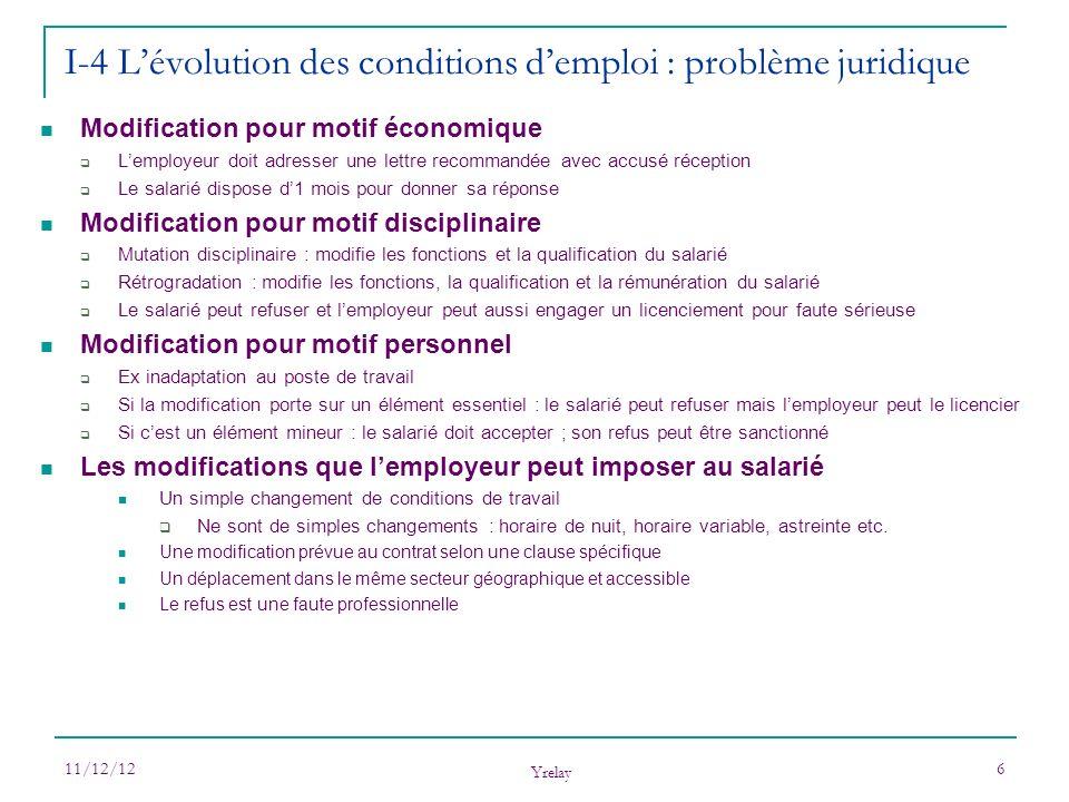 11/12/12 Yrelay 6 Modification pour motif économique Lemployeur doit adresser une lettre recommandée avec accusé réception Le salarié dispose d1 mois