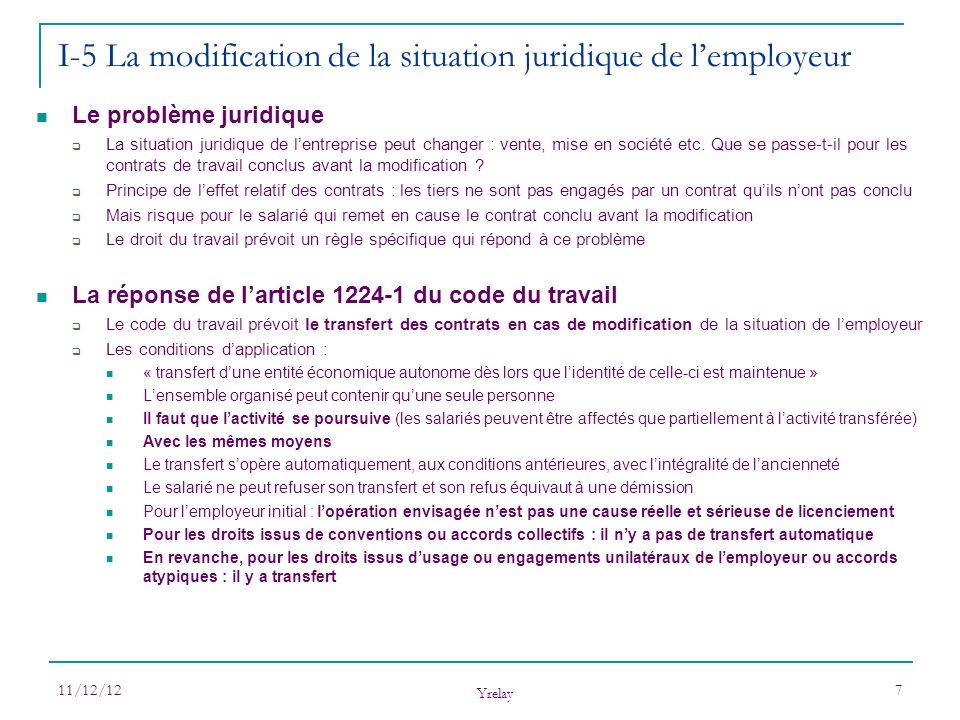 11/12/12 Yrelay 7 Le problème juridique La situation juridique de lentreprise peut changer : vente, mise en société etc. Que se passe-t-il pour les co