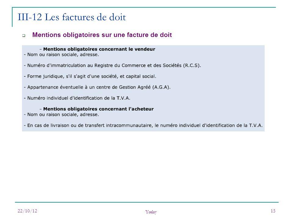 22/10/12 Yrelay 15 Mentions obligatoires sur une facture de doit III-12 Les factures de doit