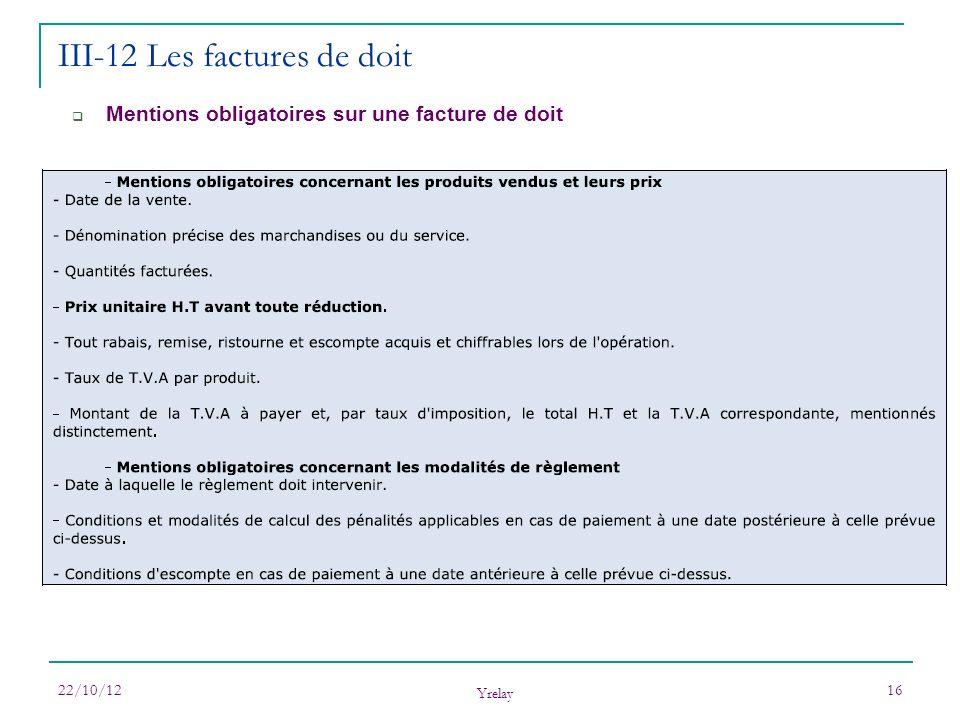 22/10/12 Yrelay 16 Mentions obligatoires sur une facture de doit III-12 Les factures de doit