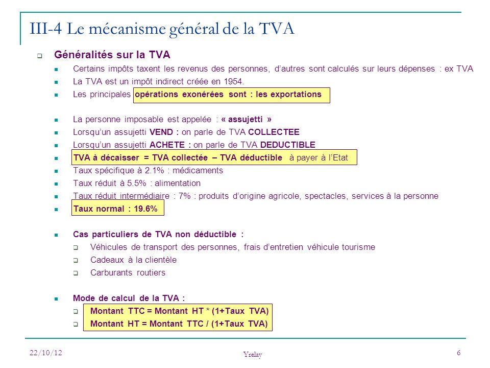 22/10/12 Yrelay 6 III-4 Le mécanisme général de la TVA Généralités sur la TVA Certains impôts taxent les revenus des personnes, dautres sont calculés